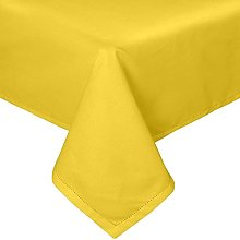 HOMESCAPES Yellow Cotton Tablecloth 6 to 8 seater