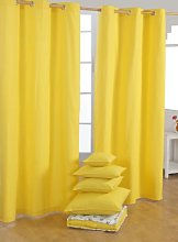 HOMESCAPES Yellow Eyelet Curtain Pair 137cm