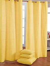HOMESCAPES Yellow Gingham Check Eyelet Curtain