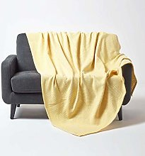 HOMESCAPES Yellow Throw 100% Cotton 255 x 360 cm
