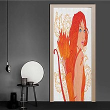 Homesonne Door Wallpaper Archer Woman with Swirled