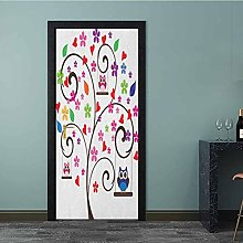 Homesonne Door Wallpaper Tree with Flowers and