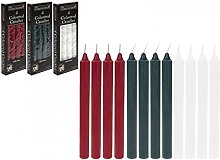 Homestreet Pack of 4 candles, 3 colours Red green