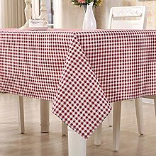 HomeT Cotton Linen Geometric Red & White Checked