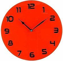 Hometime Glass Wall Clock Arabic Dial - Red 35cm