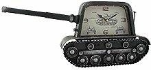 Hometime Metal Mantel Clock - Retro Military Tank