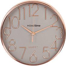 Hometime Round Plastic Wall Clock Gold Raised