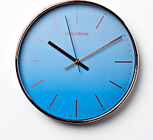 Hometime Round Wall Clock Ombre Blue Foil Numbers
