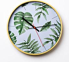 Hometime Round Wall Clock Tropic Leaf 30 cm