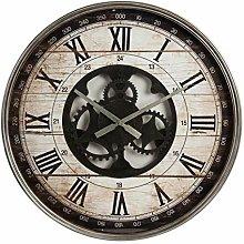 Hometime Vintage Metal Wall Clock Open Movement