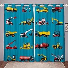 Homewish Boys Excavator Window Curtains, Truck