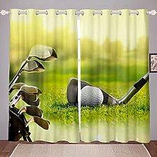 Homewish Golf Window Curtains, Golf Clubs Window