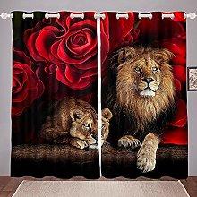 Homewish Lion Curtains, Africa Wildlife