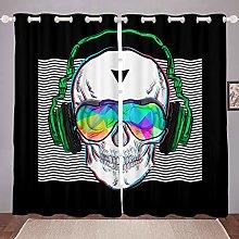 Homewish Music Skull Curtain Boys Teens White