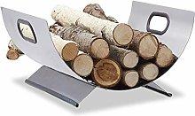 HomeZone Contemporary Fireside Log Holder Silver