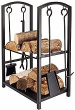 HomeZone® Large Fireplace Log Rack with 4 Tools