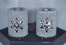 HomeZone Set of 2 Twinkling Snowflake Candle Wax