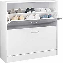 Homfa 2 Tier Shoe Cabinet Wooden Shoe Storage
