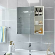 Homfa 600mm Mirrored Bathroom Cabinet, Storage Cupboard Wall Mounted, Wall Cabinet Storage, with Adjustable Shelves, Buffer Hinges, 60x13.5x60cm, White