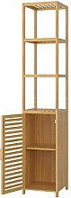 Homfa Bamboo Tall Cupboard Tallboy Bathroom