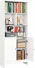 Homfa Bookshelf Wooden Bookcase White Storage