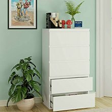 Homfa Chest of Drawers White Hallway Tall Wide