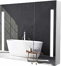 Homfa LED Illuminated Bathroom Mirror Cabinet Wall