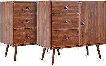 Homfa Set of 2 Sideboard Cabinet Vintage Storage