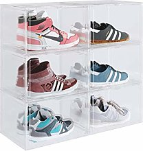 Homfa Shoe Boxes Set of 6 Stackable Shoes