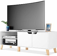 Homfa TV Stand TV Cabinet White TV Unit Storage