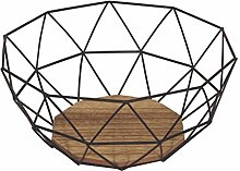 HOMION Black Wire Geometric Bowl with Wood Effect
