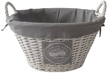 HOMION Oval Vintage Willow Wicker Linen Laundry