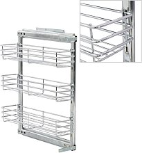 Hommoo 3-Tier Pull-out Kitchen Wire Basket Silver