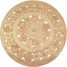 Hommoo Area Rug Braided Design Jute 120 cm Round
