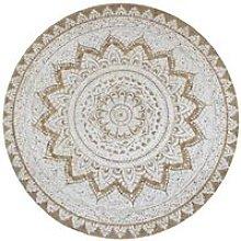 Hommoo Area Rug Braided Jute Printed 150 cm Round