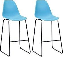 Hommoo Bar Chairs 2 pcs Blue Plastic VD23104
