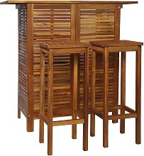Hommoo Bar Table and Chair Set 3 Pieces Solid