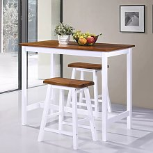 Hommoo Bar Table and Stool Set 3 Pieces Solid Wood