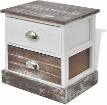 Hommoo Bedside Cabinet Brown and White QAH09498