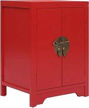 Hommoo Bedside Cabinet Red 38x28x52 cm Paulownia