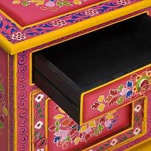 Hommoo Bedside Cabinet Solid Mango Wood Pink Hand