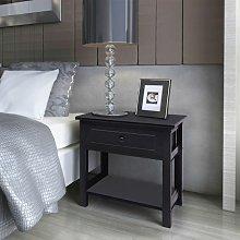Hommoo Bedside Cabinet Wood Black VD09486