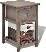 Hommoo Bedside Cabinet Wood Brown QAH09482