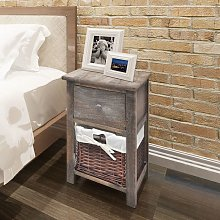 Hommoo Bedside Cabinet Wood Brown VD09482