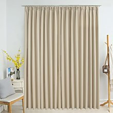 Hommoo Blackout Curtain with Hooks Beige 290x245 cm