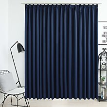 Hommoo Blackout Curtain with Hooks Blue 290x245 cm