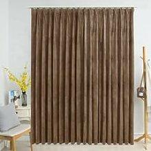 Hommoo Blackout Curtain with Hooks Velvet Beige