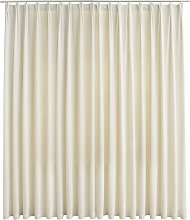 Hommoo Blackout Curtain with Hooks Velvet Cream