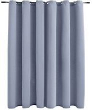 Hommoo Blackout Curtain with Metal Rings Grey