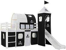 Hommoo Children's Loft Bed Frame with Slide &